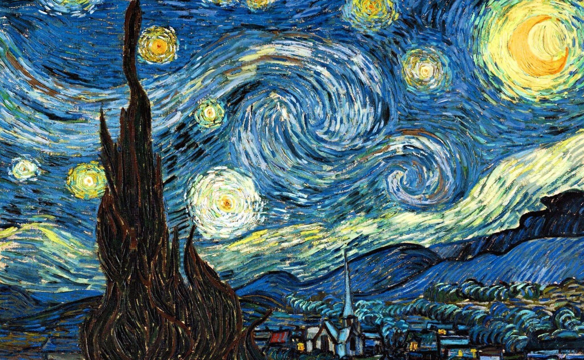 Noche estrellada de Van Gogh. La locura ante las estrellas. Trama de Anochecer.
